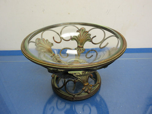 Metal scroll design holder with glass bowl