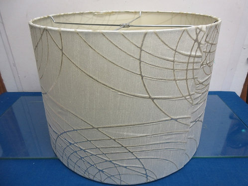 """White and silver drum style lamp shade, 11"""" tall"""