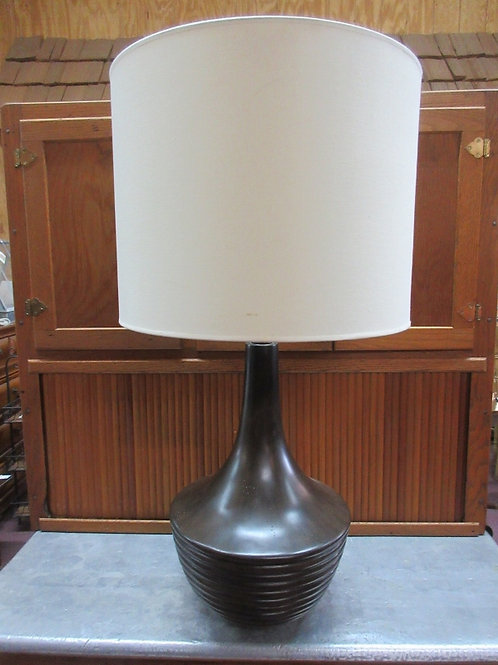 """Large brown table lamp with white drum shade 34"""" tall"""