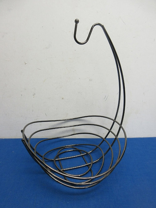 Silver metal fruit basket with attached banana hook