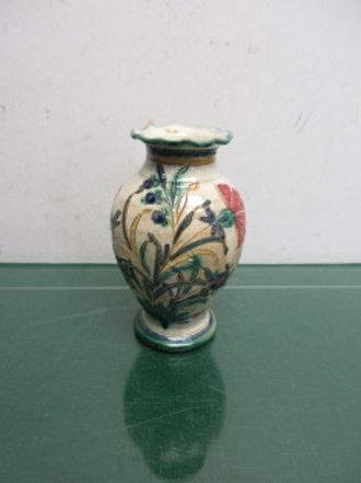 "Handpainted floral design footed vase 6.5"" high"