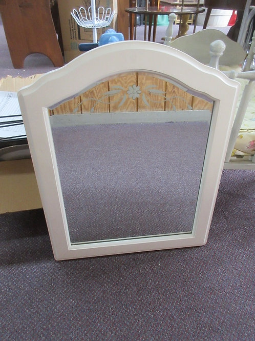 Pottery Barn Kids white framed mirror w/etched flower design on top