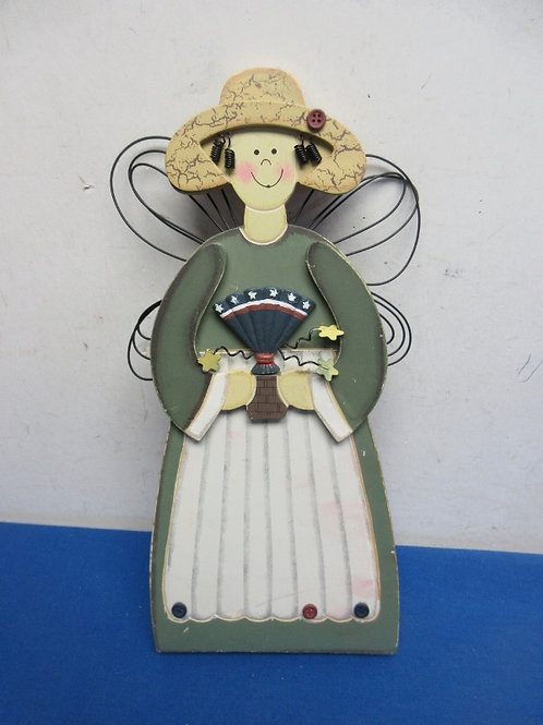 """Wood county angel wall hanging with accessories, wear, 13"""" tall"""