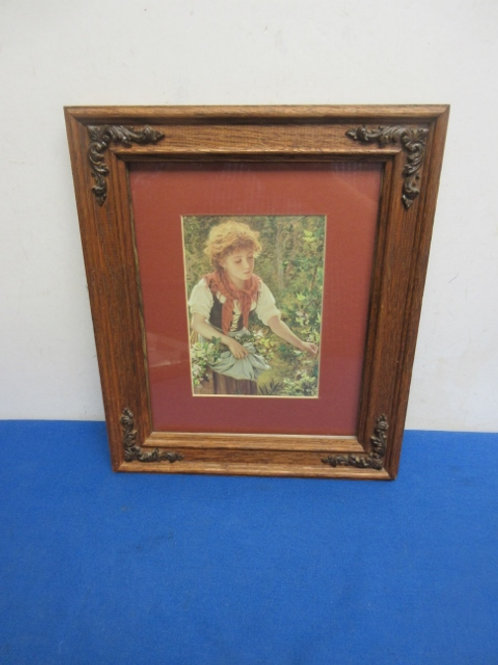 """Vintage print of girl picking flowers, with wooden frame, 10x13"""""""