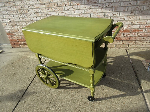 Ethan Allen distressed green tea cart with drop leaf side on wheels