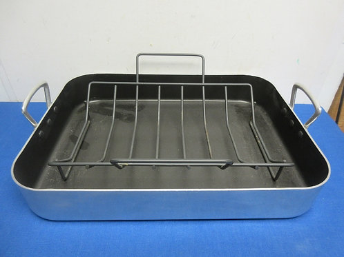 Basics non stick stainless steel double handle roasting pan w/rack - 19x14