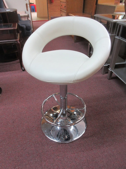 White bonded leather hydraulic scoop style bar stool with chrome base - 2 avail