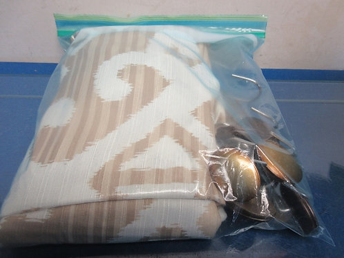 Taupe/ivory shower curtain and hooks