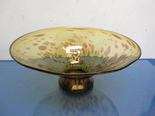 "Amber glass pedestal serving dish, 11"" dia x 5"" tall"