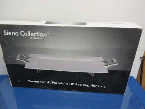 """Godfinger Pewter finish/porcelain 18"""" rectangular tray"""