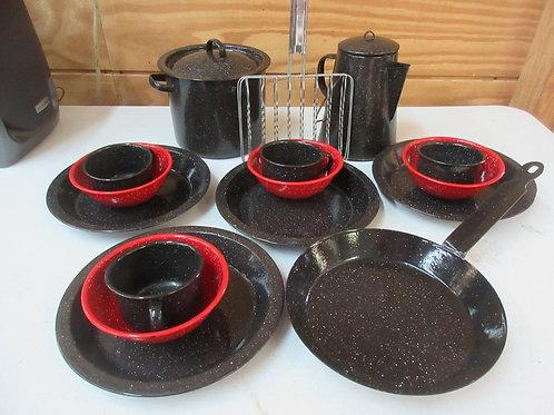 Black enamel coated camping cookware and dinnerware set, 17pcs