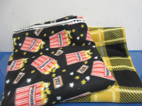 Two panels of fleece material, can be use to make Tie Blankets, plaid & popcorn