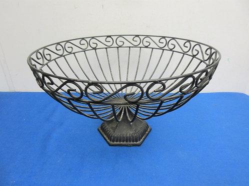 """Large black metal fruit basket, 14"""" diameter"""