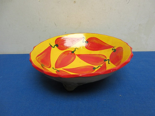 Decorative footed pottery bowl, yellow with chile pepper design