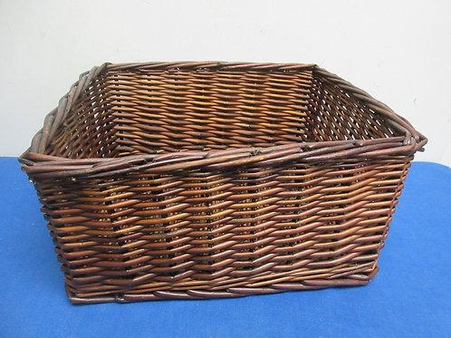"Rectangular dark tone woven twig basket 11x13x7"""