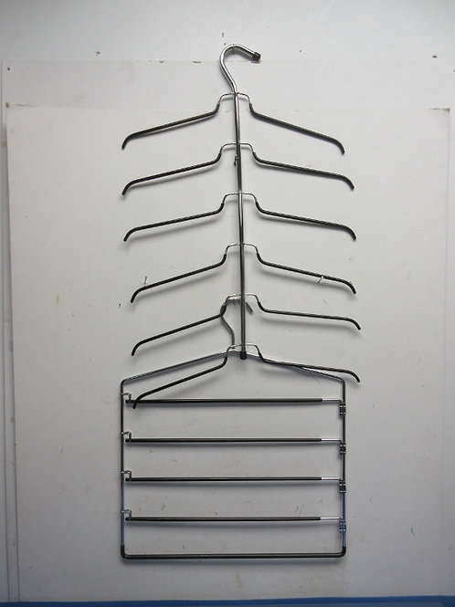Pair of metal multi level chrome hangers with rubber coverings