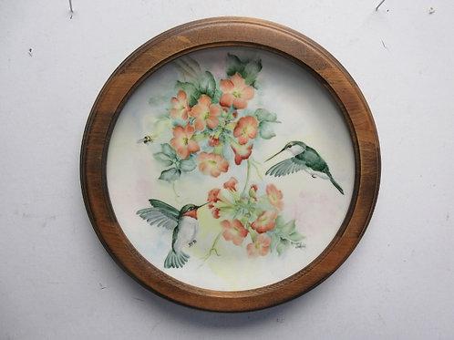 "Hand painted round hummingbird scene in a wood frame 12""diameter"