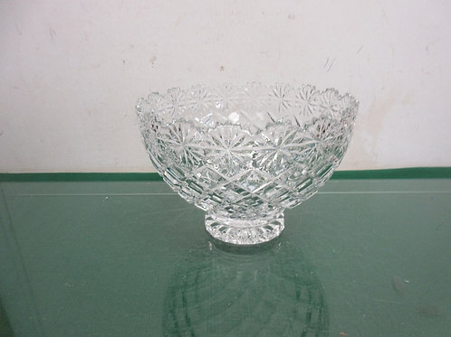"""Large cut glass footed bowl with sculptured edging, 8""""dia x 6""""tall"""