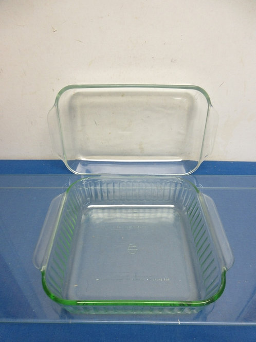 """Pyrex glass baking dish, 7x11 and Green glass square dish 8x8"""""""