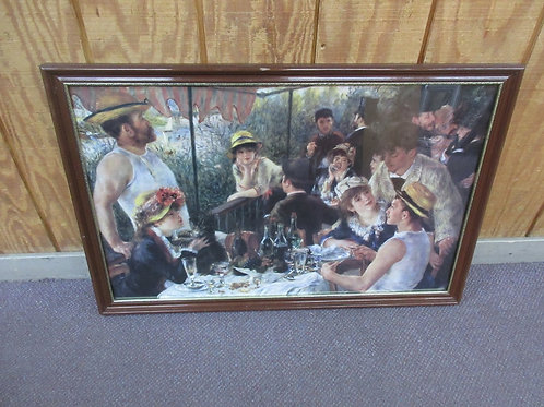 """Renoir painting print - """"the luncheon"""" in brown frame - 23x34"""