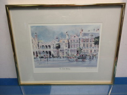 """""""On South Battery"""" watercolor by Emerson 12x16, gold frame"""