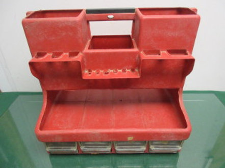 Red tool caddy with 8 small drawers for screws and nails