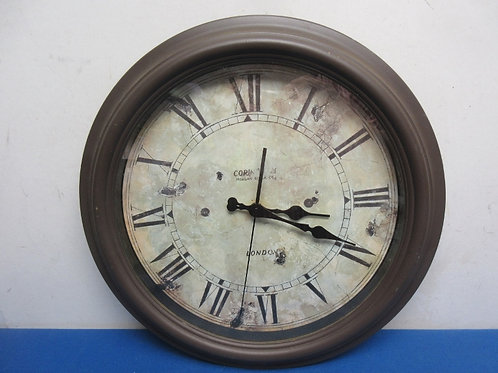 London brown frame round wall clock