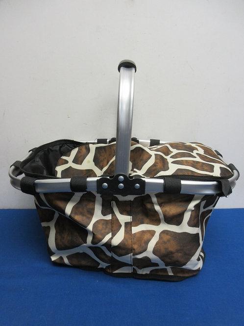 "giraffe pattern folding picnic basket, 10x16x9""deep"