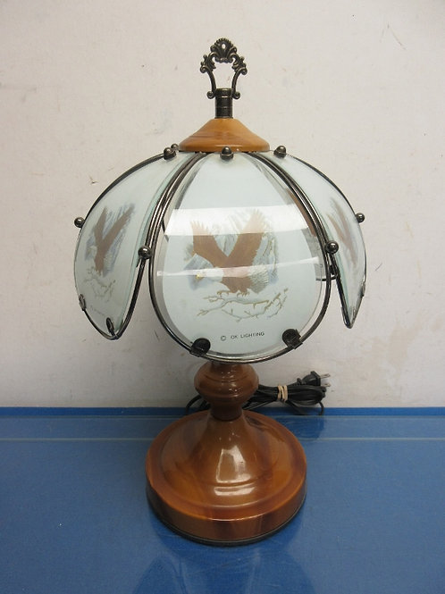 """Brown base touch lamp with eagles on glass shade, 3 way switch, 13""""high"""