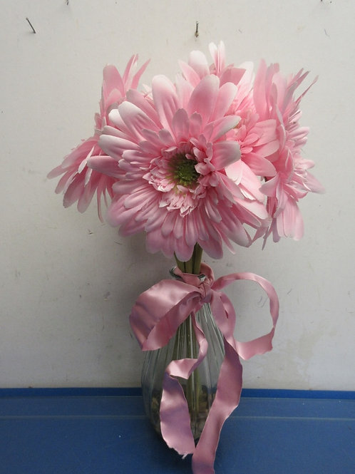 """Glass vase with large pink artificial flowers-19"""""""