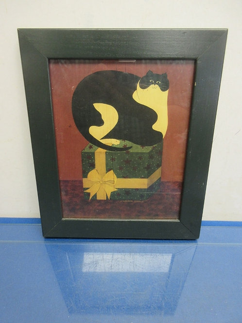 "Print of fat cat sitting on a gift box, black frame 10x12"""