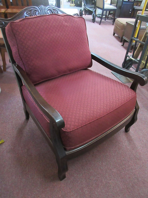 Schnadig cherry frame chair with wide seat & burgundy upholstered cushions