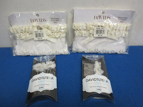 Bridal set of 2 garters, New, and 2sets of hair pins and comb