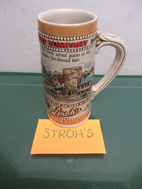 "Stroh's brewery stein, 7"" high"