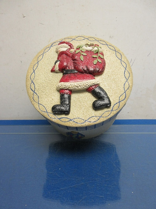 """Decorative round holiday box with dimensional Santa on lid 4.5x7"""""""