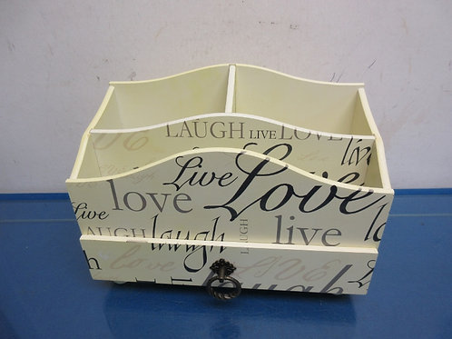 Live Love Laugh table top mail organizer, 3 sections and drawer
