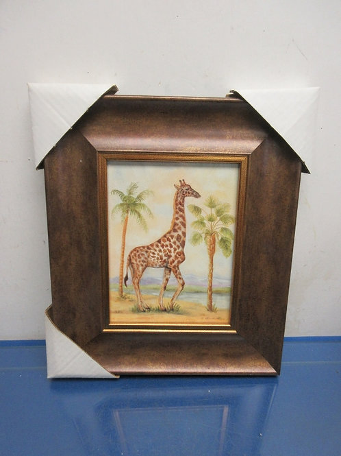 Kirklands watercolor print of giraffe with palm trees, wide brown frame 11x13