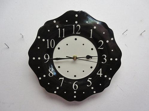 """Temptations polka dot 10.5"""" ceramic clock-black"""