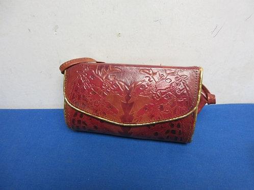 Genuine leather, burgundy with gold trim cross body purse