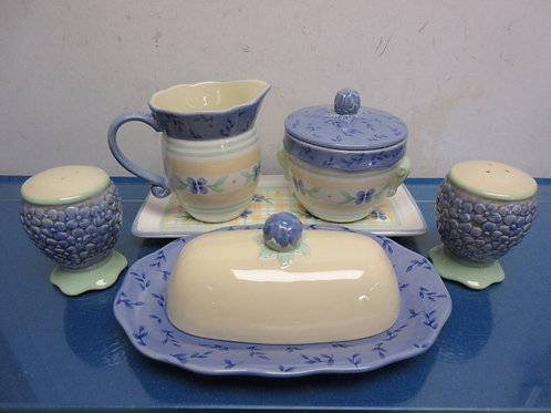 Pfaltzgraff Summer Breeze 7 pc serving set - s&p, creamer & sugar & butter dish
