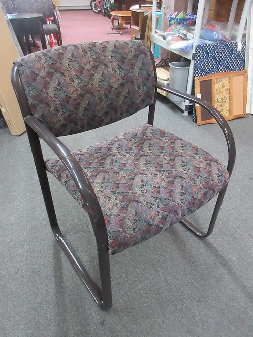 Dark Upholstered waiting room style chair with sled base, 3 available