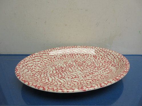 Red and white sponged design large oval serving platter