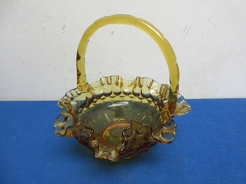 """Amber glass basket with handle, 7"""" dia"""