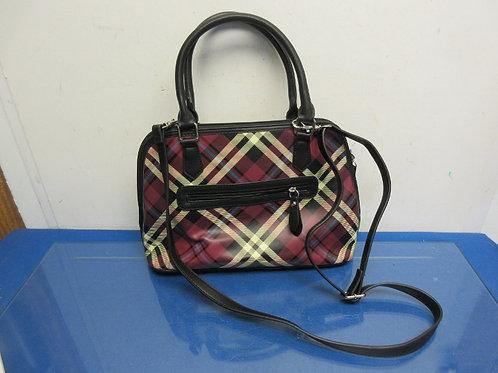 Giani Bernini burgundy and black plaid leather purse w/shoulder strap