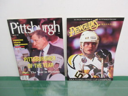 Pittsburgh Magazine from 1992, Bob Johnson Pittsburgher of the Year, a Penguin M