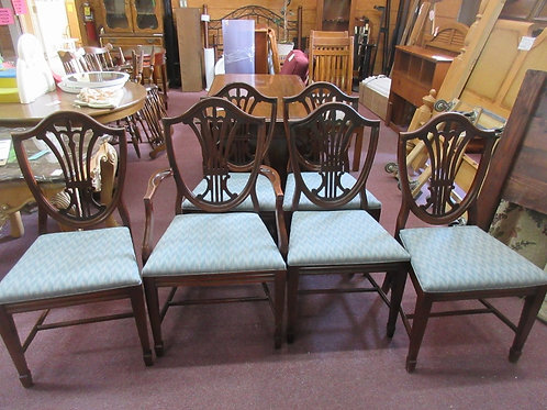 Set of 6 harp back vintage dining chairs w/green upholstered seats, one has arms