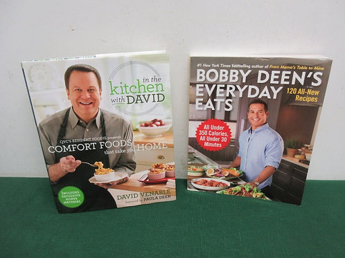 Pair of cookbooks-In the kitchen with David, Bobby Deen under 350 Cal