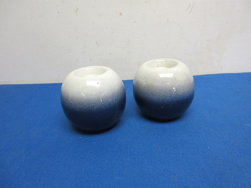 Pair of blue & white ceramic votive holders