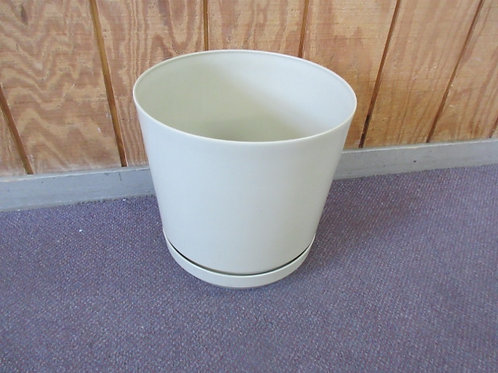"""Xlarge tan flower planter with connected drainage dish - 14""""dia x 14H"""