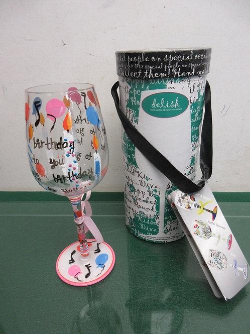 "Delish ""Happy Birthday"" hand painted wine glass in box"